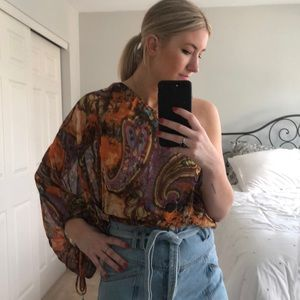 Arden B paisley one shoulder top